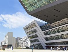 The new building of the public University of Economics of Vienna - stock photo
