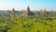 Stock Video Footage of temple complex of bagan at sunset. burma