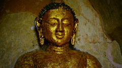 Face of the stone buddha statue close-up. bagan, myanmar Stock Footage