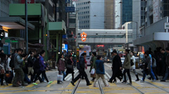 Hong Kong bustle rushhour traffic financial Central district Asia China - stock footage