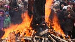 Burning effigy of Carnival Stock Footage
