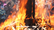 Stock Video Footage of burning effigy of Carnival