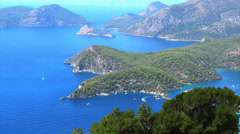 Panorama of mediterranean sea landscape view of coast and mountains Stock Footage
