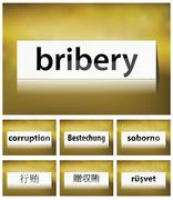 Illustration of bribery concept on white background in seven languages Stock Illustration