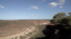 Pan from Kalbarri National Park and Murchison River, Western Australia Stock Footage