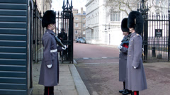 Queen's Guard in front of Clarence House (1) - London UK Stock Footage