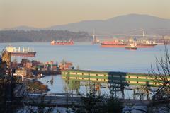 Burrard Inlet Freighters Stock Photos