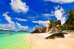 Beach Source d'Argent at island La Digue, Seychelles - stock photo