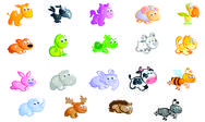 Stock Illustration of a big set of baby animals cartoon