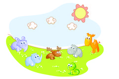 baby animals in the garden - stock illustration
