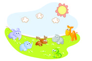 Stock Illustration of baby animals in the garden