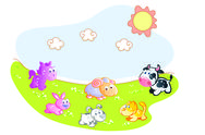 Stock Illustration of farm animals in the garden