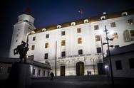 Stock Photo of Night time at Bratislava castle