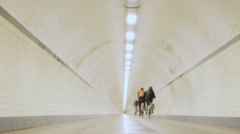 Cycling into a Long Round Tunnel - 29,97FPS NTSC Stock Footage