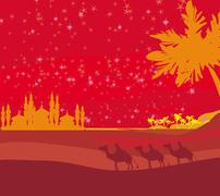 Classic three magic scene and shining star of bethlehem, vector illustration Stock Illustration