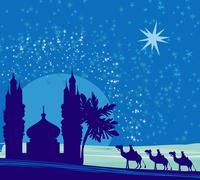 classic three magic scene and shining star of bethlehem, vector illustration - stock illustration