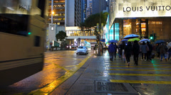 Bustle Hong Kong rush hour traffic financial Central district Asia China dusk Stock Footage