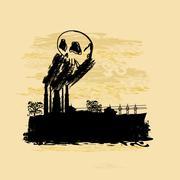 Paksu savu tulee ulos tehtaan savupiippu Piirros
