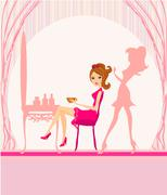 Vector illustration of the beautiful woman in hairdressing salon Stock Illustration