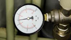 Water pressure meter installed, Full HD Stock Footage