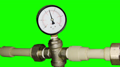 Water pressure meter installed with green screen, Full HD - stock footage