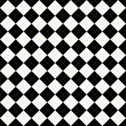 black, white and yellow argyle pattern repeat background - stock illustration