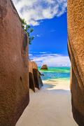 Stock Photo of Beach Source d'Argent at Seychelles