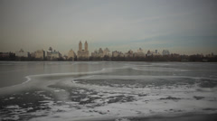 Frozen Central Park Reservoir in Manhattan New York Stock Video Stock Footage