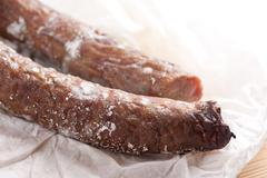 Zoom at toxic mold on smoked sausage Stock Photos