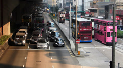 Hong Kong Central district busy bustle traffic under highway Asia China Stock Footage
