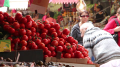 Tomatoes for sale Stock Footage