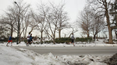 Winter Fitness in Central park Manhattan New York Stock Video Stock Footage