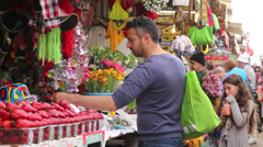 Man in a market Stock Footage