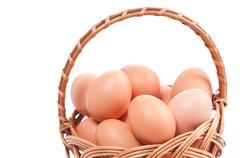 Wielkanocna Swieconka and eggs in wicker basket Stock Photos
