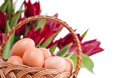 Wielkanocna Swieconka with eggs in basket Stock Photos