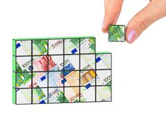 Hand and business puzzle Stock Photos
