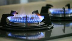 Flame of two gas stoves Stock Footage