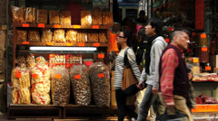 Hong Kong Wing Lok Street Ginseng and Bird's Nest street Central district China - stock footage