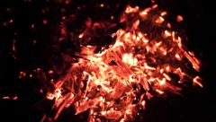 Blowing Air onto Hot Coals HD Stock Footage