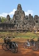 the bayon (prasat bayon) temple at angkor in cambodia - stock photo