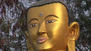 Stock Video Footage of gilded  lord Buddha statue in Lumbini, Nepal
