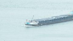 Bargemaster on River Danube Border Hungary Slovakia 2 winter Stock Footage