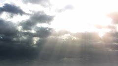 Stock Video Footage of God Rays clouds with sunbeams Time Laps