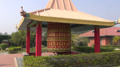 Beautiful buddhist prayer wheel in Lumbini, Nepal Stock Footage
