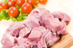 Fresh raw red pork meat pieces for stew Stock Photos