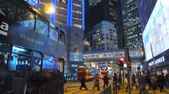 Bustle Hong Kong rush hour traffic financial Central district Asia China dusk - stock footage