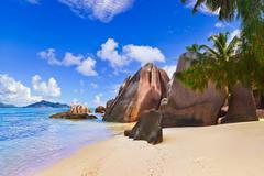 Beach Source d'Argent at Seychelles Stock Photos