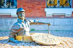 Sculpture smiling male plumber in rybinsk, russia Stock Photos