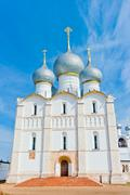 beautiful white stone orthodox cathedral with gray domes - stock photo
