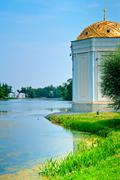 park in the suburbs of st. petersburg, the city of pushkin - stock photo